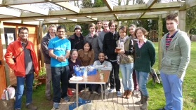 Members of Loughborough Students Union's Landscape and Gardening Society with Steve King of Transition Loughborough and keep gardener Andy Bartlett at the workshop which began work on what they hope will be another Britain In Bloom beauty of a display.